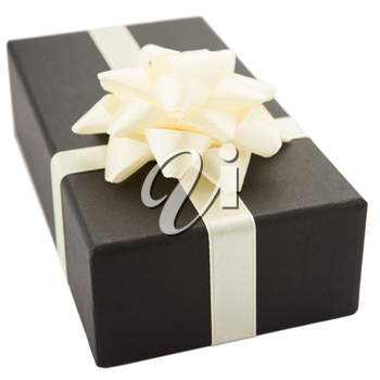 Black gift box with white bow, isolated on white background