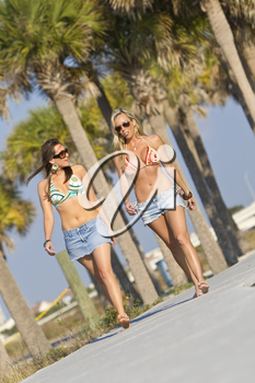 Two attractive young women walking to the beach in a tropical location