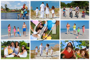 An attractive happy, laughing family of mother, father, son and daughter outside active having fun on summer vacation, cycling, beach, park, fishing
