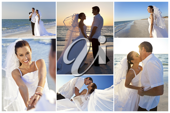 Wedding montage of a married couple, bride and groom, together at sunset on a beautiful tropical beach