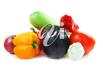 Assorted garden vegetables isolated on white background