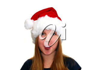 Portrait of a young girl wearing Santa's hat isolated on white background