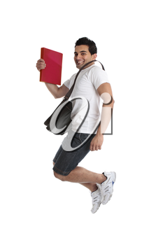 A thrilled energetic man student jumping leaping or celebrating a success, triumph or other.  White background.