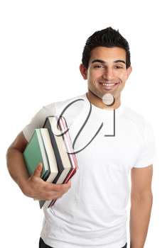 Male university or college student holding a stack of books under one arm.  He is wearing a white t-shirt and has a friendly smile.