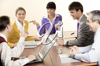 Successful people sharing their methods of management with business partners