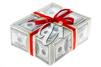 Photo of box made up of dollars decorated with red ribbon over white background