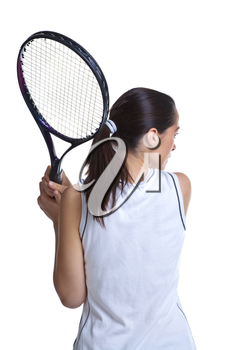 Rear view of a woman tennis player, isolated on a white background.