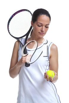Woman tennis player holding a racket and ball, isolated on a white background.