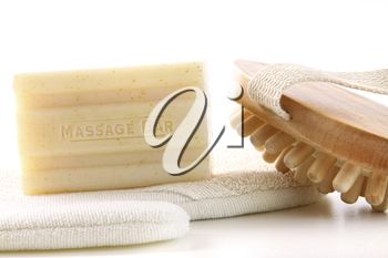 Royalty Free Photo of a Bar of Soap and Bath Accessories