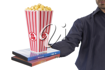 man giving some popcorn at a movie