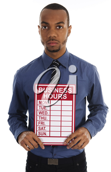 business man holding a red sign on white