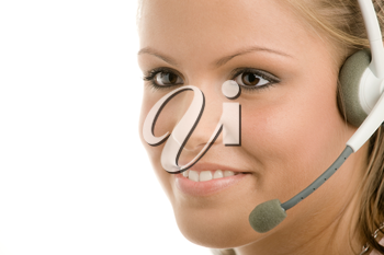Happy young customer service girl in headset smiling.