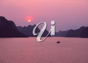 Purple sunset in Halong Bay, Vietnam, Southeast Asia