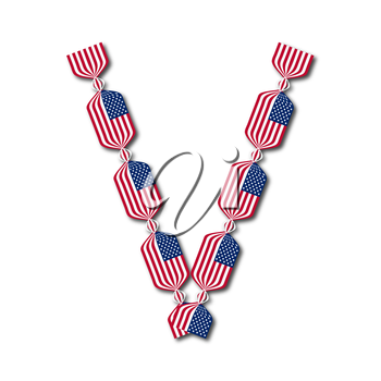 Letter V made of USA flags in form of candies on white background