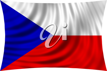 Flag of Czech Republic waving in wind isolated on white background. Czech national flag. Patriotic symbolic design. 3d rendered illustration