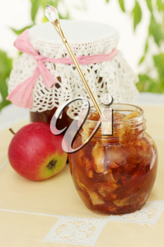Jam made from apple slices with spices