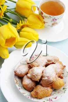 spring breakfast homemade donuts with powdered sugar