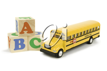 school bus and bricks isolated on white background