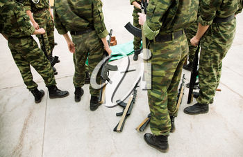 group of soldiers ,selective focus on center of photo