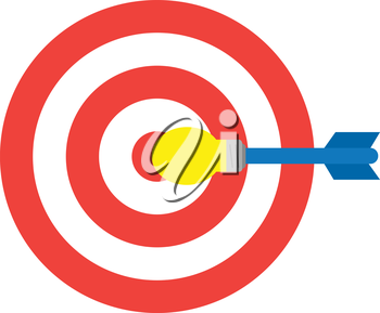 Vector red bullseye target and yellow blue light bulb dart is in the center.