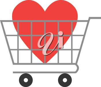 Vector red x mark inside in grey shopping cart.
