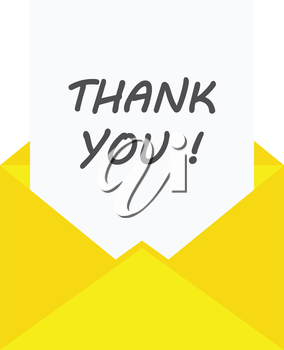 Vector paper with thank you in yellow envelope.