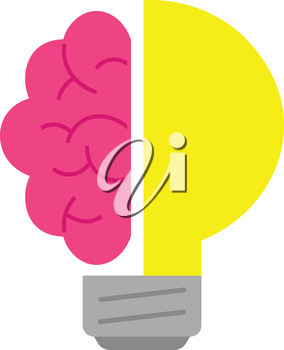 Vector pink brain and yellow light bulb.
