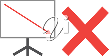 Vector white board with red x mark and red arrow pointing down.