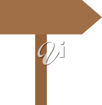 Vector brown blank arrow sign pointing right.