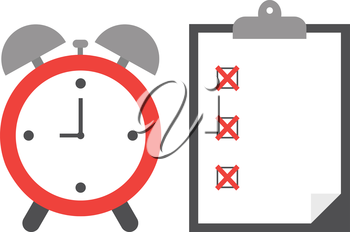 Vector of an alarm clock with clipboard and paper include boxes and red x marks.