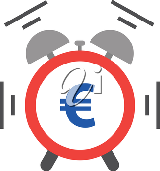 Vector of an alarm clock shaking and ringing include blue euro.