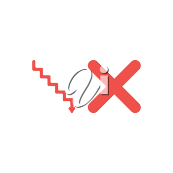 Flat design style vector illustration concept of red stairs with arrow pointing down and red x mark on white background.