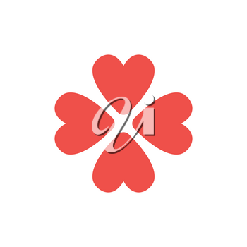 Flat design style vector illustration concept of rotated four red heart symbol icons on white background.