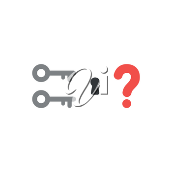 Flat design style vector illustration concept of two key icons with keyhole and red question mark on white background.