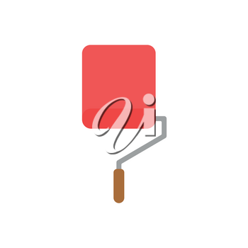 Flat design style vector illustration concept of red roller paint brush icon painting wall on white background.