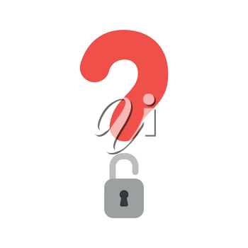 Vector illustration icon concept of question mark with opened padlock.