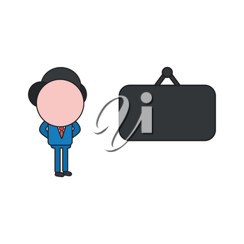 Vector illustration concept of businessman character with blank hanging sign. Color and black outlines.