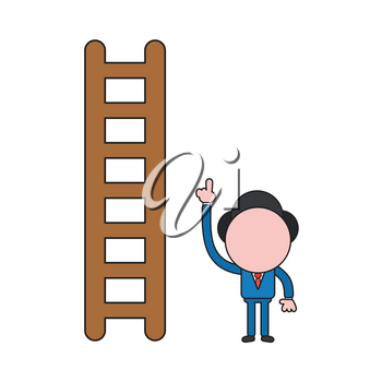 Vector illustration concept of businessman character with wooden ladder and pointing up. Color and black outlines.
