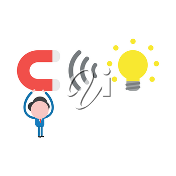 Vector illustration of businessman character holding up magnet attracting glowing yellow light bulb idea icon.