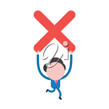 Vector illustration concept of businessman character running and holding up red x mark icon.