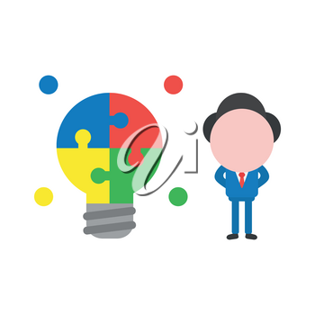 Vector illustration of faceless businessman character with glowing jigsaw puzzle light bulb idea.