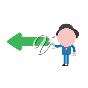 Vector illustration of faceless businessman character holding arrow pointing left.