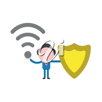 Vector illustration of faceless businessman character holding wireless wifi symbol and guard shield.