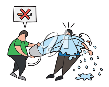 Vector illustration cartoon man character throw water with bucket to smoker and say no smoking cigarette here.