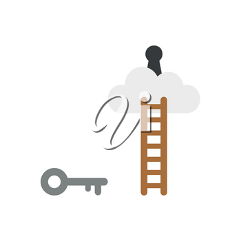 Flat design vector illustration concept of grey key symbol icon reach to keyhole on cloud with brown wooden ladder on white background.