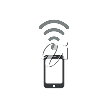Flat design vector illustration concept of use smartphone as modem, black smartphone with grey wifi wireless symbol icon on white background.