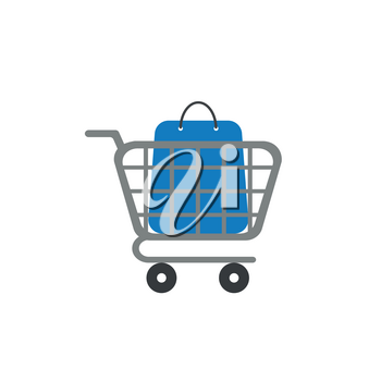 Flat design vector illustration concept of blue shopping bag inside grey shopping cart symbol icon on white background.