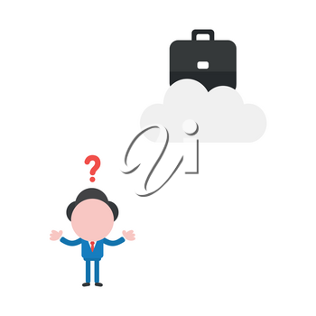Vector illustration of faceless businessman character confused how reach to briefcase on cloud.