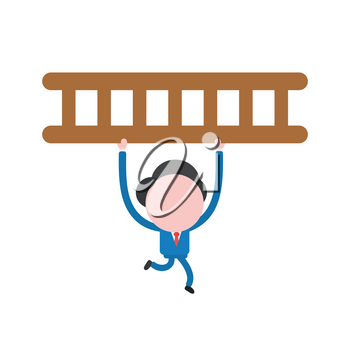 Vector illustration of faceless businessman character running and carrying wooden ladder.