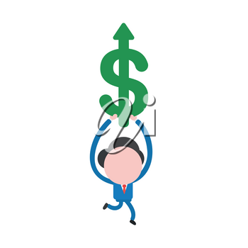 Vector illustration businessman character running and holding green dollar symbol with arrow moving up.